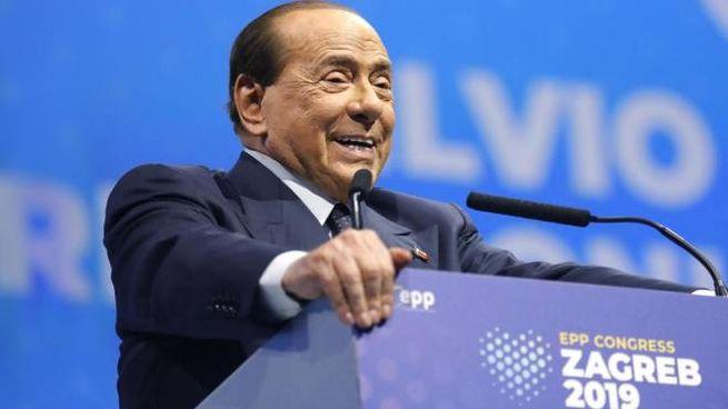L'intervento di Berlusconi al congresso Ppe di Zagabria (Ansa)