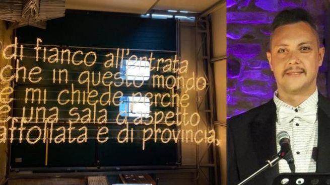 Le luminarie con le frasi di Cremonini; a lato Tiziano Corbelli