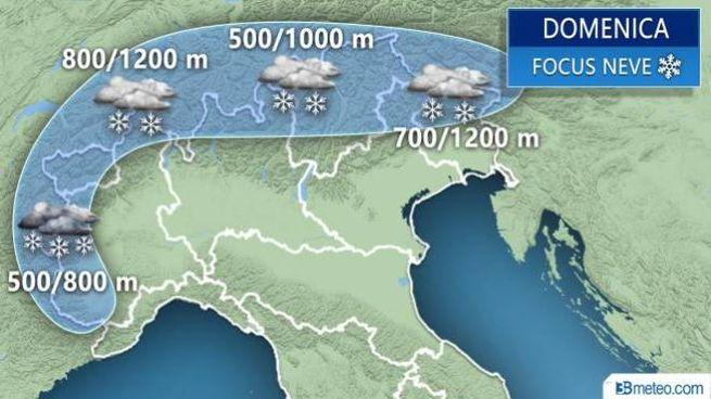 Neve sulle Alpi, le stime 3BMeteo