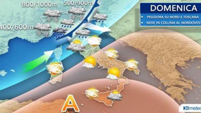 La simulazione 3BMeteo per la giornata di domenica 1 dicembre
