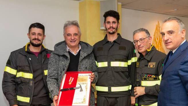 Massimo Ferrari e i figli alla premiazione