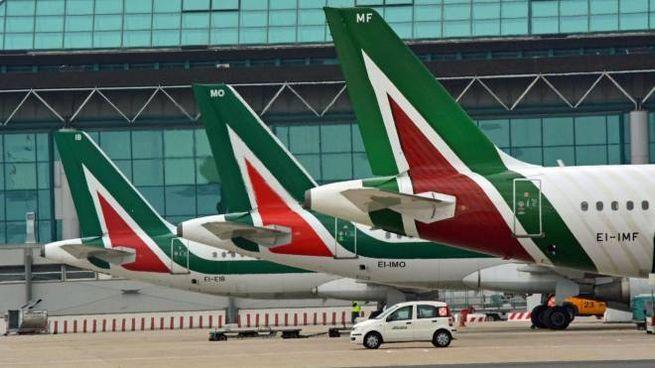 Alcuni aerei della compagnia Alitalia (Ansa)