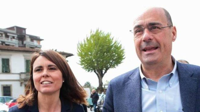 La segretaria toscana Pd Simona Bonafè con il segretario nazionale dem Nicola Zingaretti