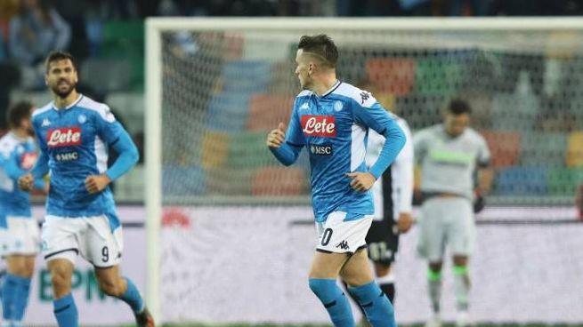 Piotr Zielinski in gol contro l'Udinese (Lapresse)