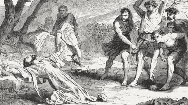 La lapidazione di Santo Stefano in un'illustrazione del 1886