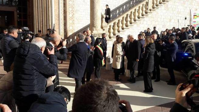Assisi, l'arrivo di Mattarella
