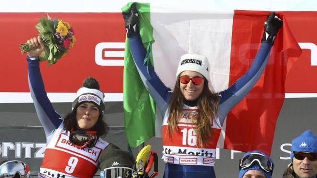 Federica Brignone e Sofia Goggia sul podio del superG di St Moritz (Ansa)
