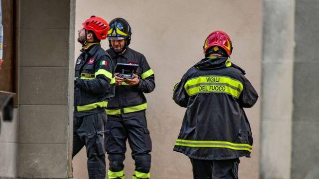 Vigili del fuoco durante il terremoto in Mugello (Fotocronache Germogli)