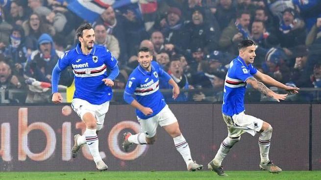 Manolo Gabbiadini decide il derby della Lanterna, come nel 2014 (Lapresse)