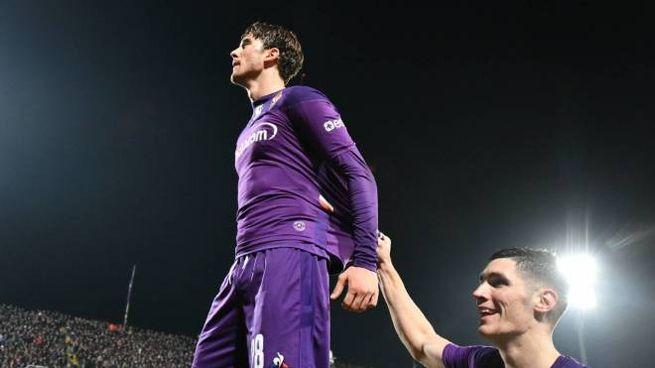 Fiorentina-Inter, Vlahovic esulta dopo il gol