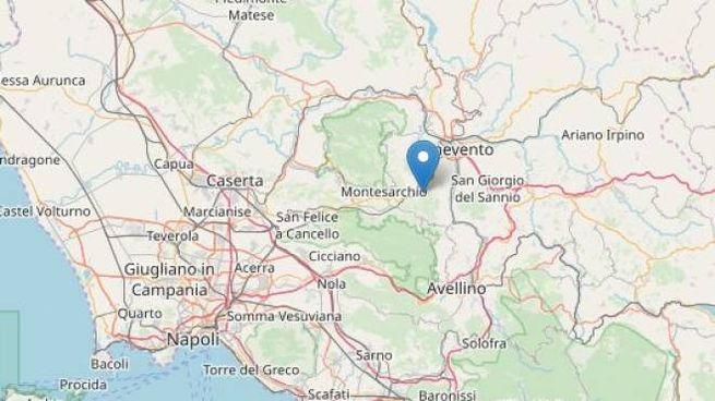L'epicentro del terremoto in provincia di Benevento