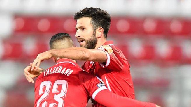 Esultanza Iemmello, attaccante Perugia
