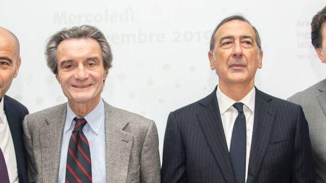 Il governatore Attilio Fontana e il sindaco Beppe Sala (Newpress)