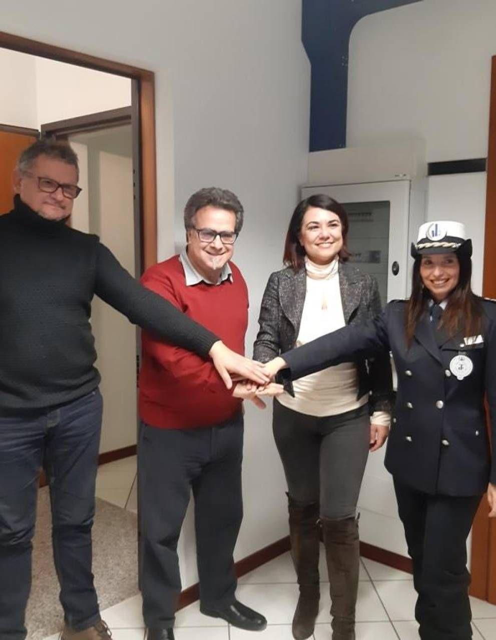 Da sinistra Milani,. Altiero,. Gasparini e Pezzali (commissaria Polizia Locale)