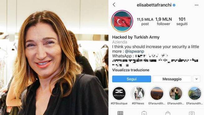 La stilista Elisabetta Franchi e il suo profilo instagram hackerato