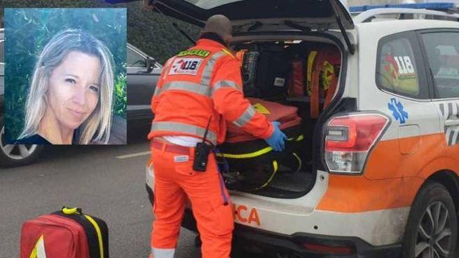 I soccorritori del 118 impegnati nell'intervento; nel riquadro Eleonora Malaguti