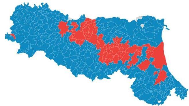 La mappa del voto alle Europee 2019 in Emilia-Romagna