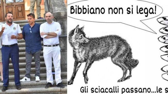 Matteo Salvini a Bibbiano e il manifesto delle Sardine