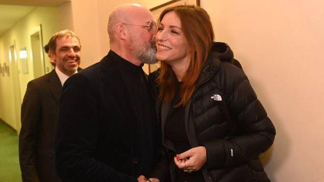 Bonaccini, 53 anni, e Borgonzoni 43, nella sede di Confindustria a Bologna (FotoSchicchi)