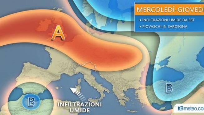Previsioni meteo, lo scenario previsto da 3bmeteo (Twitter)