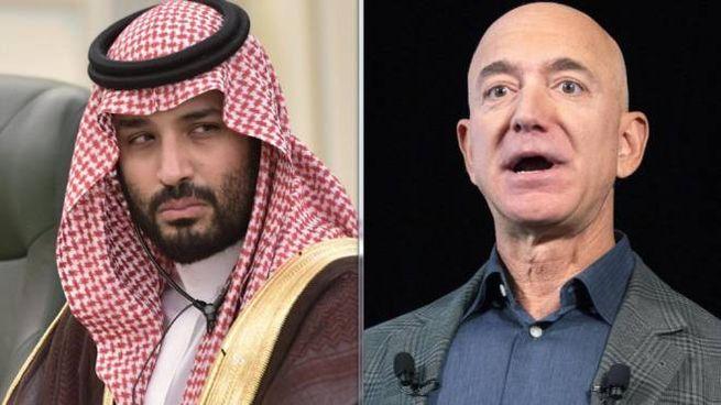 il principe saudita Mohammed bin Salman e Jeff Bezos (Ansa)