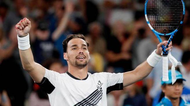 Australian Open, Fognini festeggia il passaggio agli ottavi (Ansa)