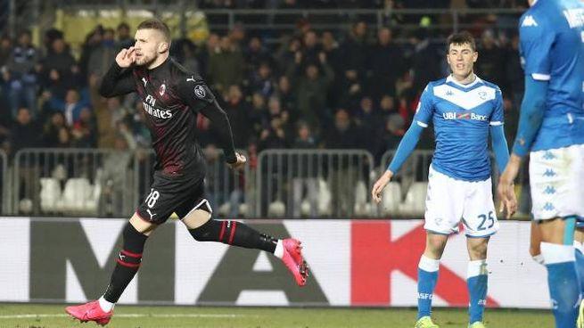 Brescia-Milan 0-1, il gol di Rebic (Ansa)