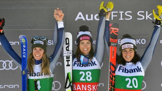 Curtoni, Bassino e Brignone sul podio (Ansa)