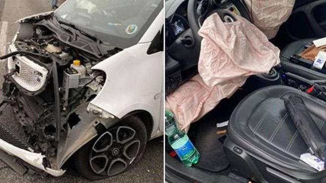 Incidente per Giancarlo Magalli, l'auto distrutta (Ansa)