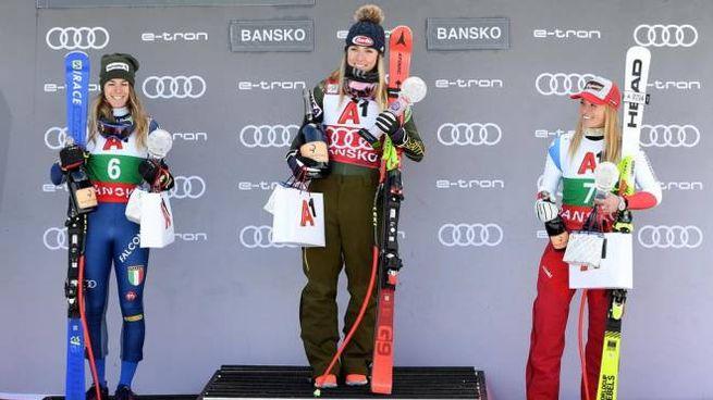 Il podio del Super G di Bansko (Ansa)