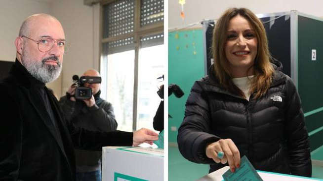Emilia Romagna, da sinistra Stefano Bonaccini e Lucia Borgonzoni (Ansa)