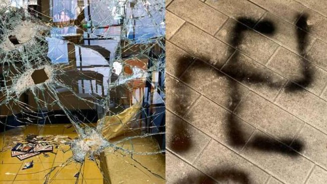Rezzato, vetrina rotta e svastica nella notte in un bar (Foto Facebook)