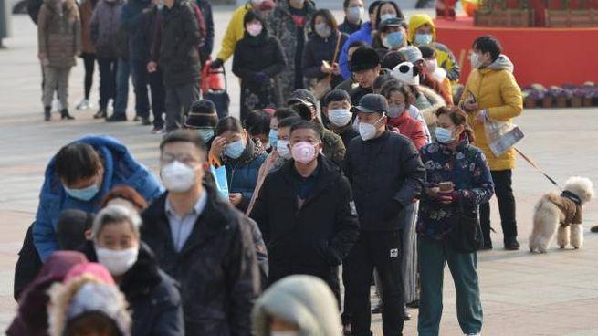Cina, fila per comprare mascherine a Nanjing (Ansa)