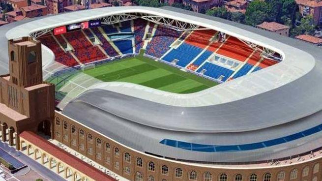 Il rendering del 'nuovo' Dall'Ara, firmato dall'architetto Gino Zavanella