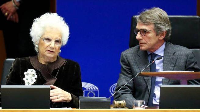 Liliana Segre, 90 anni, senatrice a vita, al Parlamento Europeo insieme a Sassoli