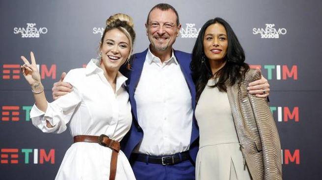 Sanremo 2020: Diletta Leotta, Amadeus e Rula Jebreal (Ansa)