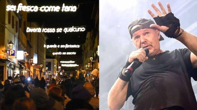 Zocca, le luminarie (foto Bellisi) di Vasco Rossi (foto Serra) diventano permanenti