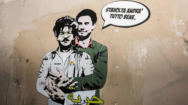Roma, un murales con Zaki e Regeni vicino all'ambasciata egiziana (Ansa)