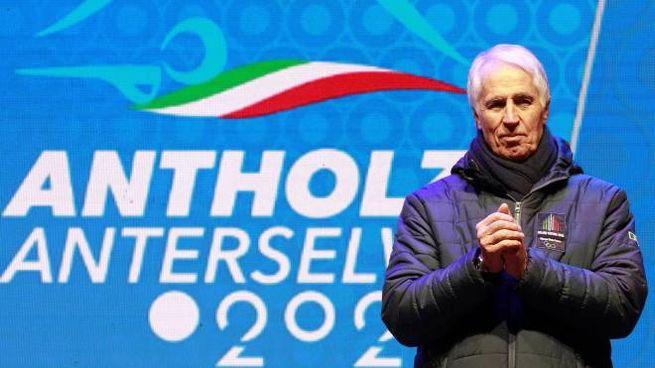 Giovanni Malago alla cerimonia di apertura dei Mondiali di biathlon ad Anterselva (Ansa)