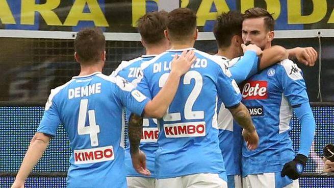 Inter-Napoli, l'esultanza degli azzurri (Ansa)