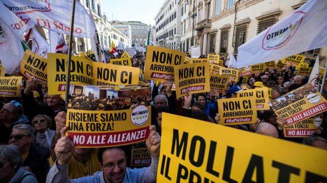 Manifestazione M5s a Roma (Ansa)