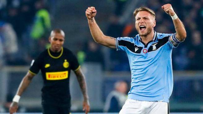 Lazio-Inter, l'esultanza di Ciro Immobile (Ansa)