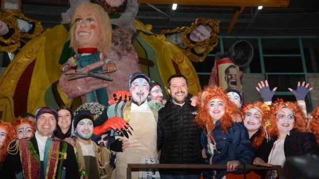 Matteo Salvini alla Cittadella del Carnevale alcuni anni fa (foto Umicini)