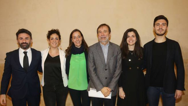 Il rettore Dei con Irene Ghaleb, Alessandra Moresi e Alessio Franchino