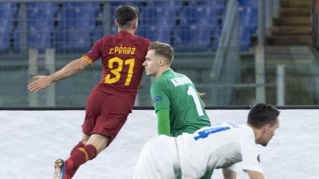 Perez porta in vantaggio la Roma sul Gent (Ansa)