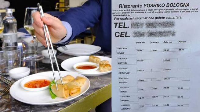 Coronavirus, il cartello apparso fuori dal ristorante di via Riva Reno a Bologna