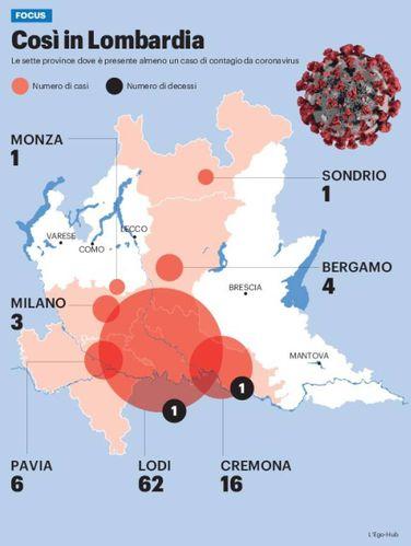 Cartina Lombardia E Province.Coronavirus In Lombardia 2 Morti E 112 Positivi In 7 Province La Mappa Del Contagio Cronaca