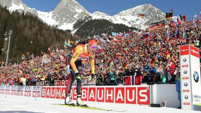 La tedesca Denise Herrmann seconda nella staffetta 4x6 km ad Anterselva (Ansa)