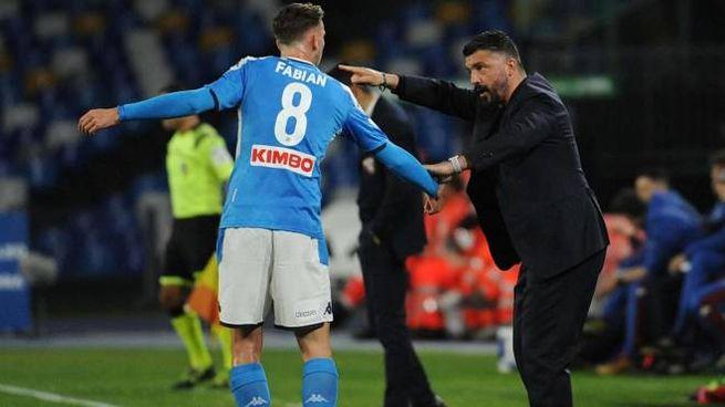 Il tecnico del Napoli Gennaro Gattuso (Ansa)