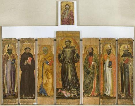 Alcune pale dell'imponente apparato figurativo dedicato a San Francesco